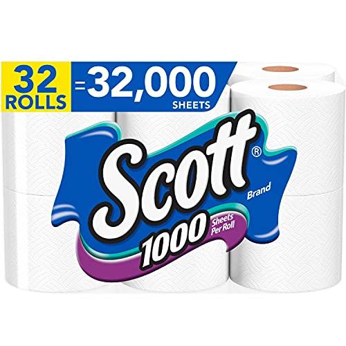 Scott 1000 Sheets Per Roll Toilet Paper, 32 Rolls (4 Packs of 8), Bath Tissue