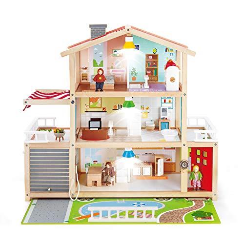 Hape Casa de Muñecas, Casa de Muñecas Galardonada con 10 Dormitorios, Casa de Juguete de Madera con Accesorios para Niños y Niñas a partir de 3 años