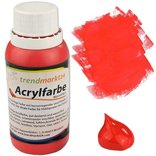 trendmarkt24 Acrylfarbe Rot 150 ml in der Tube/Flasche Malfarbe flüssig stark pigmentierte Bastelfarbe Acryl   Farbe für Holz Glas Gips Ton Metall Textilien Styropor Beton uvm.