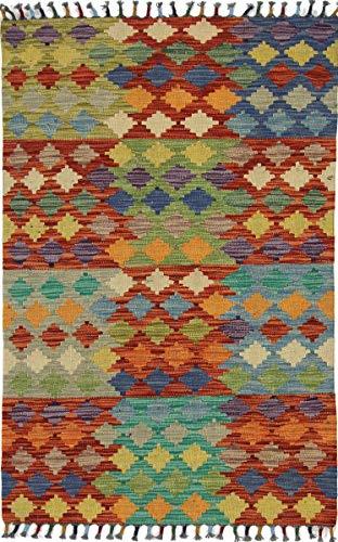Nain Trading Kelim Afghan 124x81 Orientteppich Teppich Rot Handgewebt Afghanistan