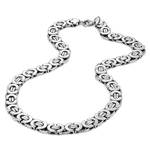 Urban Jewelry stile meccanico ultra Wide collana da uomo in acciaio INOX (argento, larghezza 11mm)
