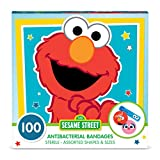 Sesame Street Shaped Kids Bandages, 100 CT | Antibacterial Adhesive Bandages for Minor Cuts, Scrapes, Burns. Great Stocking Stuffer or White Elephant