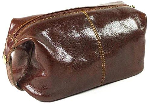 Vera pelle italiana-Borsa trousse da viaggio Unisex, stile Vintage, colore: marrone