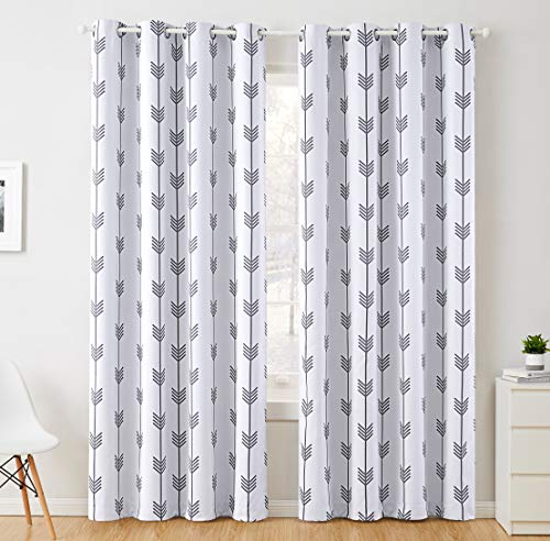 """HLC.ME Arrow Printed Privacy Blackout Energy Efficient Room Darkening Thermal Grommet Window Curtain Drape Panels for Kids Bedroom - Set of 2 - Platinum White/Grey - 84"""" inch Long"""
