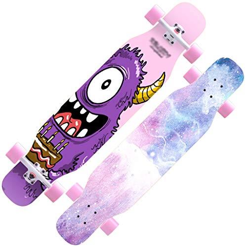 YYHSND Skateboard Débutant Érable Longboard Adulte Garçons Et Filles Professionnel Pinceau Street Dance Board Ado Quatre Roues Planche à Roulette (Color : F)