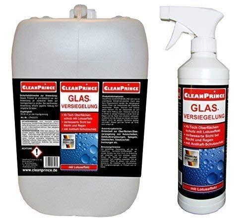 CleanPrince Glasversiegelung 2,5 Liter | Glasimprägnierung Scheibenversiegelung Glas-Imprägnierung Regenabweiser Lotuseffekt Dusche Regen Rain Anti Ex Glas Autoglas Versiegelung wasserabweisend