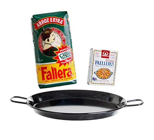 Paella-Geschenk-Set 4: Paella-Pfanne Stahl emailliert Ø 30 cm, Paella-Reis & Paella-Gewürz