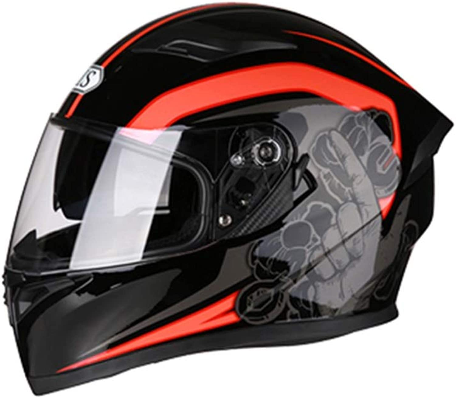Lanbinxiang@ Men's and Women's Motorcycle Simple Helmet Full Face Helmet with A Corner Four Seasons Summer Hat Locomotive Personality Pattern  Black Red Personality Pattern  Large Predection