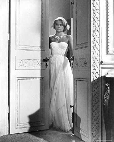 Posterazzi DAP18223 Grace Kelly- Standing in Doorway Wearing White Dress Photo Print, 8 x 10, Multi