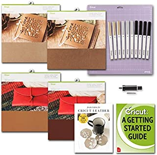 Cricut Genuine Leather in Camel, Dark Brown and Metallic, Blade, Pen Set and GripMat Bundle