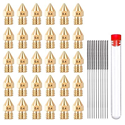 HAWKUNG 40 Pcs 3D Printer Brass Nozzle Cleaning Kit, 30 Pcs 0.4mm MK8 Extruder Nozzles + 10 Pcs Stainless Steel Nozzle Cleaning Needles with Free Storage Box for Makerbot Creality Ender 3 CR-10