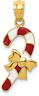 14k Yellow Gold Enameled Candy Cane Pendant Charm Necklace Holiday Fine Jewelry Gifts For Women For Her