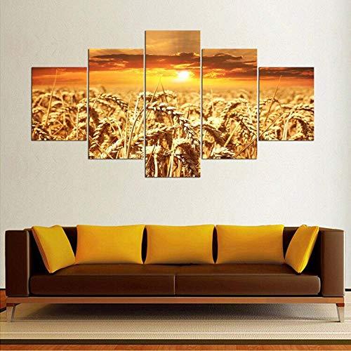 VKEXVDR Pared Arte de Obras de Arte Moderno Paisaje de Trigo Dorado para Colgar Cuadros sobre El Lienzo con Bastidor(150x80cmx5pcs)