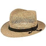 Cappello di paglia estivo cappello da sole – in alghe marine con seta verde e fori di aerazione – Made in Italy – particolarmente leggero e flessibile. naturale XL