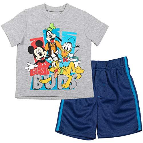 Disney Mickey Mouse Toddler Boys T-Shirt Athletic Mesh Shorts Set Navy/Gray 4T