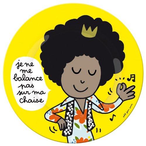Petit Jour Paris Assiette à Dessert Motif Je ne me Balance pas Multicolore