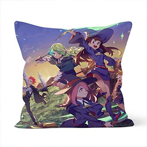 Little Witch Academia - Funda de almohada decorativa, firme, sofá, niños, funda de almohada para interior y exterior, 45 x 45 cm