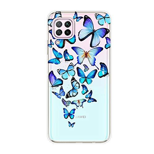 Kompatibel mit Huawei P40 Lite Hülle TPU Silikon Bunt Schutzhülle,[Transparen Karikatur Silikonhülle] Hülle Gemalt,Ultra Slim Durchsichtig mit Muster Bumper Stoßfest Hülle,Blauer Schmetterling