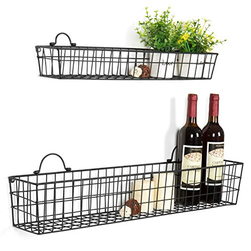 MyGift Country Rustic Wall Mounted Openwork Black Metal Mesh Storage Baskets Display Racks, Set of 2