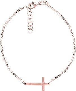 Sterling Silver Dainty Sideways Cross Bracelet for Women Italy, 7.5 - 8 inch
