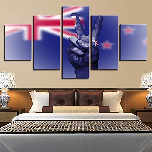 CIOIUEZ Leinwand 5 Stück Druck Wand Kunst Flagge Sieg Hand Zeichen Kunst für Wohnzimmer Schlafzimmer