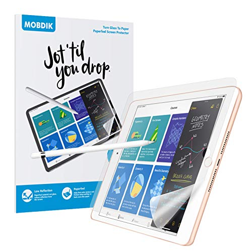 [2 Pack]Paperfeel Screen Protector iPad 9.7, Write, Draw and Sketch Like on Paperfeel Anti Glare Less Reflection with Easy Installation Kit for iPad 9.7&iPad Pro 9.7