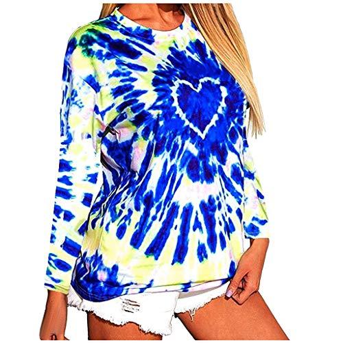 Fashion Women Letter Tie-dye Printing O-Neck Long Sleeves T-Shirt Blouse Tops Blue