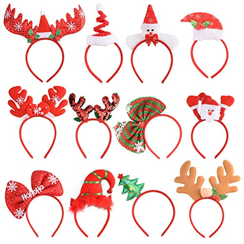 12 PCS Holiday Headbands,Cute Christmas head hat toppers ,Flexibility to Fit All Sizes,Great Fun and Festive for Annual Holiday and Seasons Themes, Christmas Party,Christmas Dinner ,photos booth.