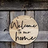 Shraddha Saburi Artwork Round Sign. Wood Sign. Tin Sign Welcome to our home. Front Door Decor. Door Decoration. Wall Decoration. Wall Décor, Door Hanging, welcome, wall hanging, welcome sign, Diwali decor (10.5 x 10.5 Inch)