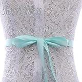 Cinturón de boda de cristal Cinturón de novia con cuentas de plata Cinturón de vestidos de novia con diamantes de imitación de plata para accesorios nupciales - Verde menta