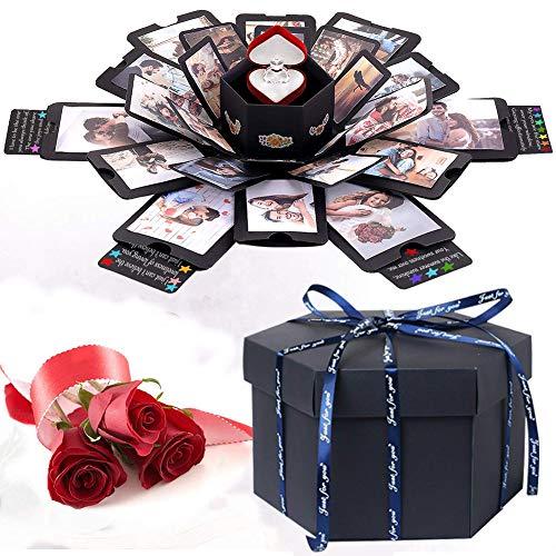 LinTimes Kreative Überraschung Box DIY Explosionsbox Faltendes Fotoalbum, Geschenkbox mit 6 Gesichtern für Hochzeit, DIY Geschenk, Jahrestag Valentine