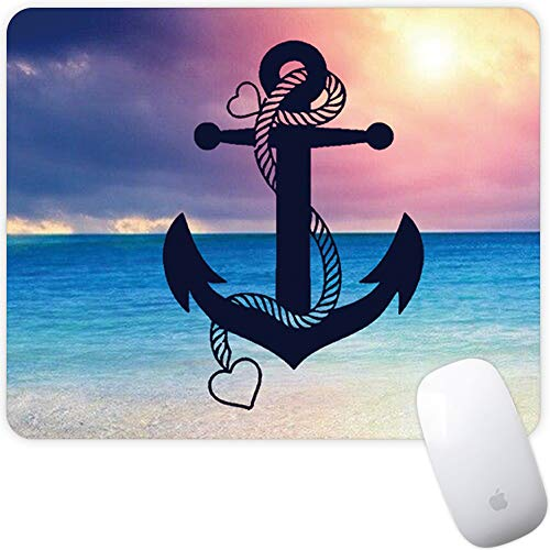 Marphe Mouse Pad Mousepad Non-Slip Rubber Gaming Mouse Pad Rectangle Mouse Pads for Computers Laptop (Blue Sea Anchor)