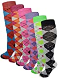 6 Pairs Women's Fancy Design Multi Colorful Patterned Knee High Socks,Argyle Design,Size 9-11 ( Fit women shoe size 4 to 10 )