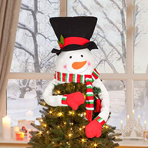 DearHouse Large Snowman Christmas Tree Topper with Top Hat Scarf Hugger for Xmas Holiday Winter Home Wonderland Party Decorations Ornaments Supplies