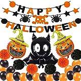 Kit de decoración de globos de Halloween, pancarta de globos de Halloween,Bat, Pumpkin Ghost Foil Balloon Black Orange Globo de Látex para Halloween Bar Suministros De Decoración del Hogar