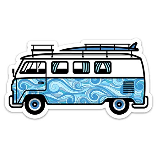 VW Surf Van Bus Aufkleber Aufkleber California 12,7x 6,9cm Aloha Blau Wellen
