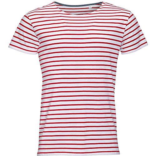 Sols Herren Miles T-Shirt, gestreift, kurzärmlig (S) (Weiß/Rot)