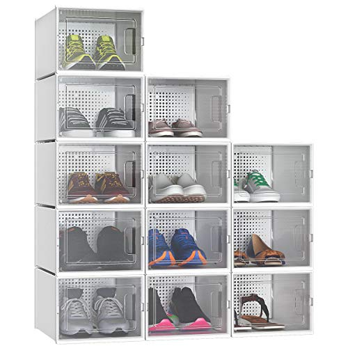 YITAHOME Shoe Box Set of 12 Shoe Storage Organizers Stackable Shoe Storage Box Rack Clear Drawer-White Medium Size