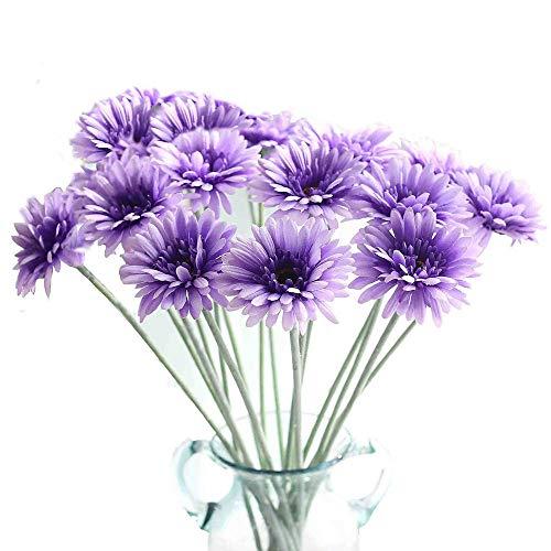 KIRIFLY Künstliche Blumen 10 Stück Unechte Blumen Deko Künstlich Gefälschte Daisy Bulk Deko Hochzeit Seidenblumen Sonnenblumen Dekor Kunststoff Gerbera Blumenarrangements Tischdekoration (Lila)
