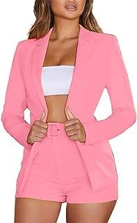 jiumoji Women Women 2 Piece Casual Blazer Set Long Sleeve Bright Solid Button Fit Office Work Tops Bandage Coats Pants Suit