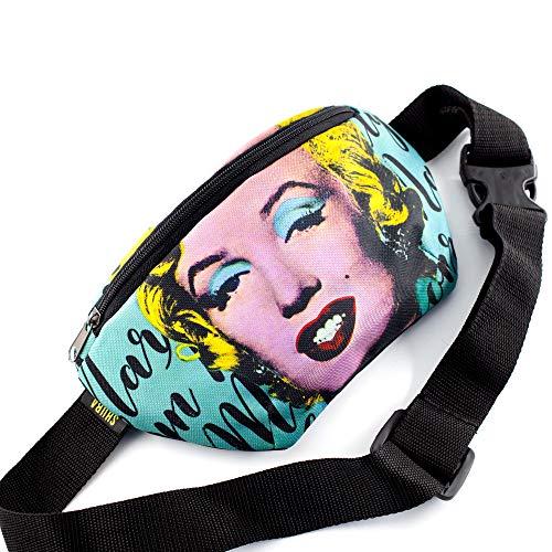 Belt Bag Monroe Canvas Pop art Warhol Daypack Crossbody Bag Waist Pocket with Zipper, Adjustable belt bag, famous art for running (Pink)