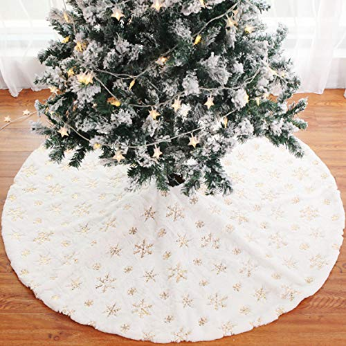 FengRise Christmas Tree Skirt Decorations - 48 Inches White Faux Fur Gold Snowflake Tree Skirt Rustic Large Tree Xmas Ornaments for Christmas Party Holiday Home Decor Indoor Outdoor