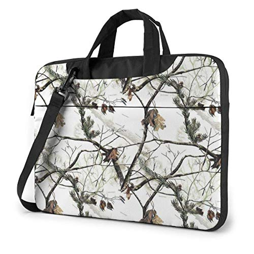 White Realtree Camo Laptop Shoulder Bag 15.6 Inch Laptop Messenger Case Laptop Sleeve Carrying Case with Strap
