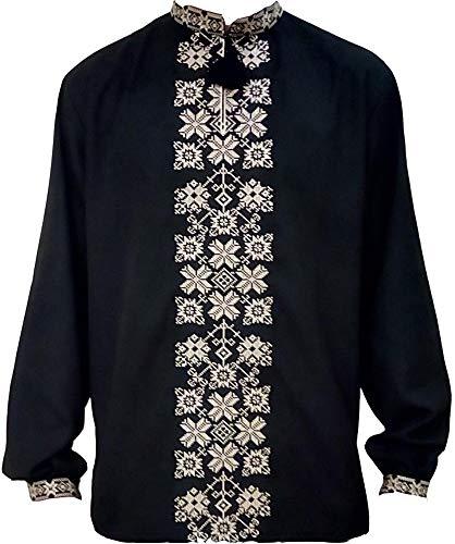 Ukrainisches, besticktes Hemd, Sorochka für Herren, ethnisch, traditionell, patriotisch -  Schwarz -  XX-Large