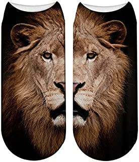 3 Pares Lovely Lion Cartoon Calcetines De Impresión En 3D Harajuku Woman Funny Animal Kawaii Stretch Tobillo Girl Socks