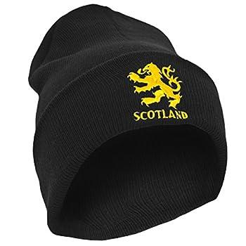 Scotland Mens Lion Design Embroidered Winter Beanie Hat  One Size   Black