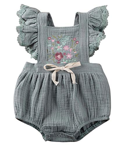 0-18M Newborn Baby Girl Jumpsuit Linen Short Ruffle Sleeve Sunsuit Embroidery Flowers Print Summer Bodysuit Outfit Clothes (Green, 0-6m)