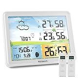 Kalawen Wetterstation Funk mit 2 Außensensor Digital Farbdisplay DCF-Funkuhr Innen und Außen Weather Station Thermometer Hygrometer Funkwetterstation mit Wettervorhersage und Mondphase (Weiß)