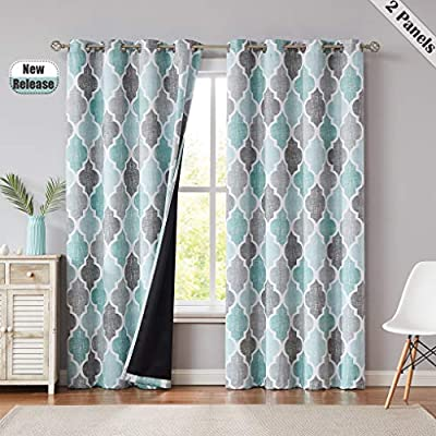 Beauoop 95% Blackout Window Curtain Panels Moroccan Geo Print Room Darkening Thermal Insulated Energy Efficient Drapes Quatrefoil Grommet Top Window Treatment Set, 52 by 63 Inch, Spa/Gray (2 Panels)