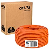 HB-DIGITAL 100m cat.7A Netzwerkkabel LAN Verlegekabel AWG 23/1 Orange Cable cat 7 Kupfer Profi S/FTP PIMF LSZH Halogenfrei RoHS-Compliant Cat7a cat.7 a Ethernet Datenkabel 10Gbit 1000MHz 10 Gigabit
